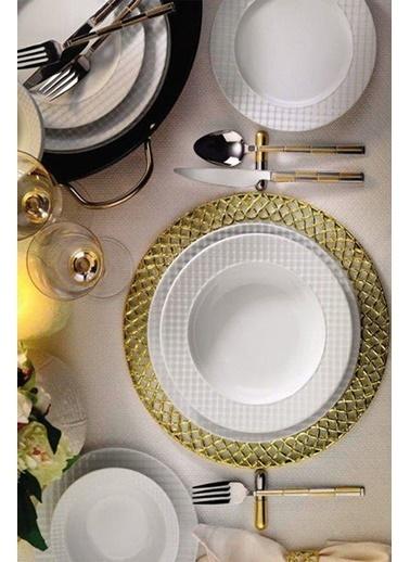 Kütahya Porselen Ekose Yemek Takımı Seti 18 Prç.6 Kişilik Renkli